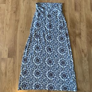 Blue printed maxi skirt-small